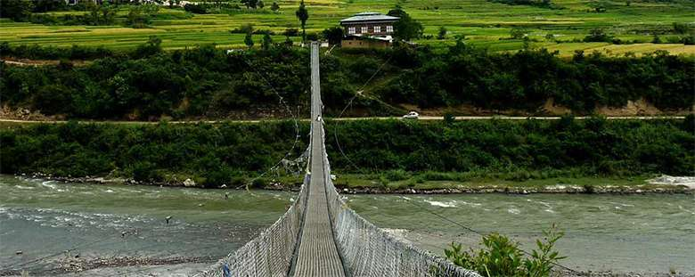 Punakha Suspension Bridge in Bhutan